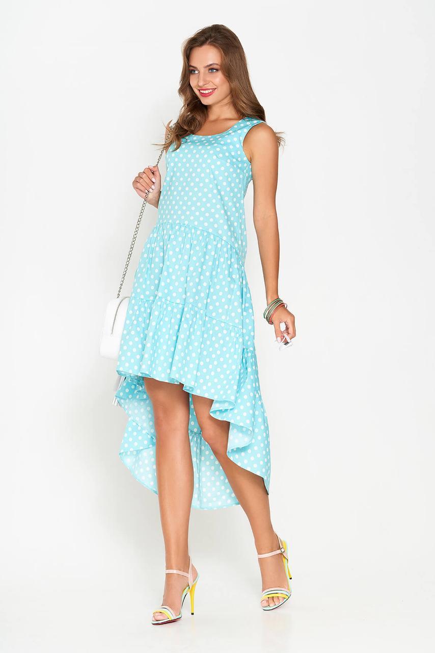 Легкое платье миди свободного кроя асимметрия без рукава хлопок мятное в горох