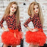 Комплектик юбка + блуза красный с тыквами на Halloween/Хеллоуин zironka