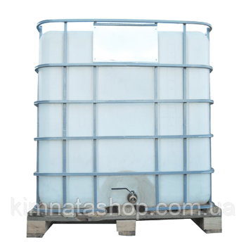 Емкость квадратная в решетке с металлическим краном на 1000 литров