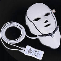 LED Маска с микротоками для лица с накладкой для шеи