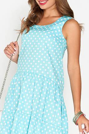 Легкое платье миди свободного кроя асимметрия без рукава хлопок мятное в горох, фото 2