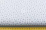 """Лоскут ткани """"Густая насыпь из звёзд разных размеров"""" серые на белом, коллекция Mini-mikro, №1888а, фото 2"""