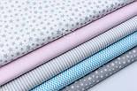"""Лоскут ткани """"Густая насыпь из звёзд разных размеров"""" серые на белом, коллекция Mini-mikro, №1888а, фото 4"""