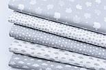"""Лоскут ткани """"Густая насыпь из звёзд разных размеров"""" серые на белом, коллекция Mini-mikro, №1888а, фото 6"""