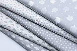 """Лоскут ткани """"Густая насыпь из звёзд разных размеров"""" серые на белом, коллекция Mini-mikro, №1888а, фото 8"""
