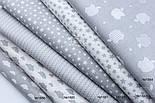 """Лоскут ткани """"Густая насыпь из звёзд разных размеров"""" серые на белом, коллекция Mini-mikro, №1888а, фото 9"""