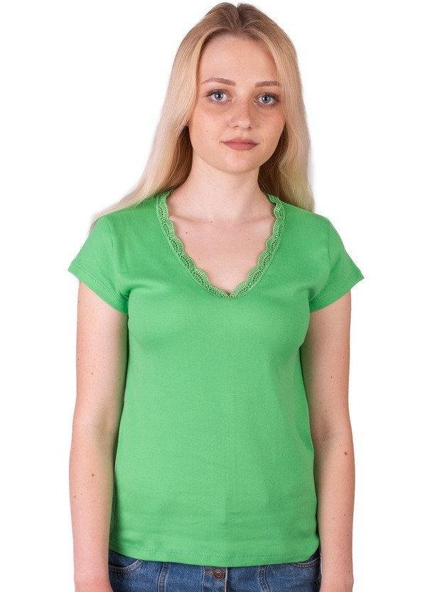 Футболка с кружевом женская однотонная трикотажная хлопковая, зеленая