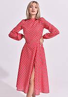 Платье летнее макси в горох ниже колена с рукавами на резинке с разрезом на ноге Цвет : Красный Размер : 42 44 46 Материал : Креп - шифон k-52918