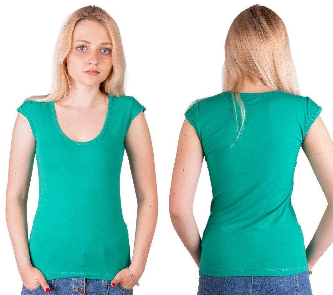 Зеленая футболка женская без рисунка однотонная стрейчевая летняя