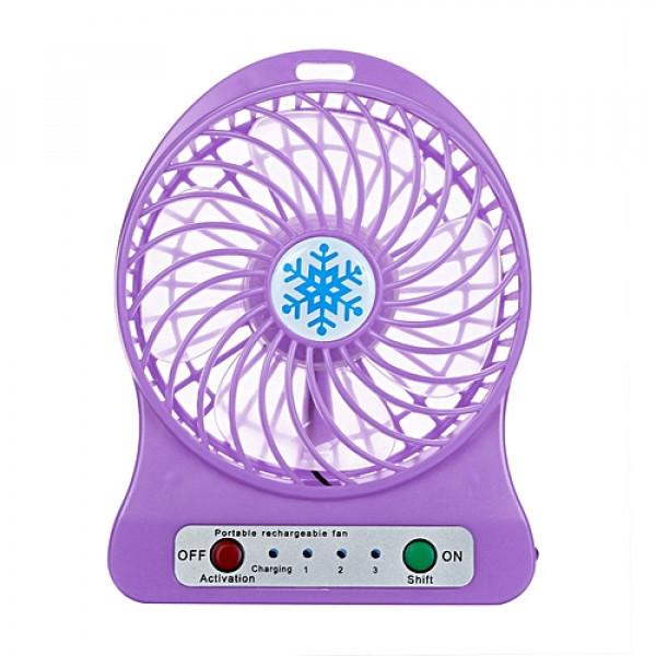 Настольный портативный вентилятор + лампа + USB фиолетовый