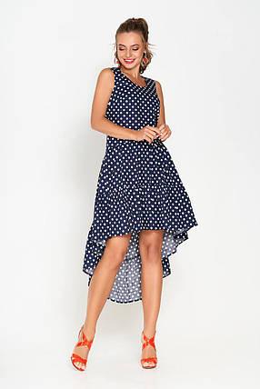 Красивое платье миди свободного кроя асимметрия без рукава хлопок синее в горох, фото 2