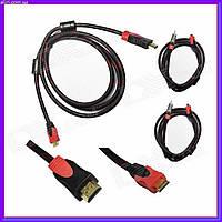 Качественный кабель HDMI-HDMI позолоченный, усиленная обмотка 1.5 м, фото 1