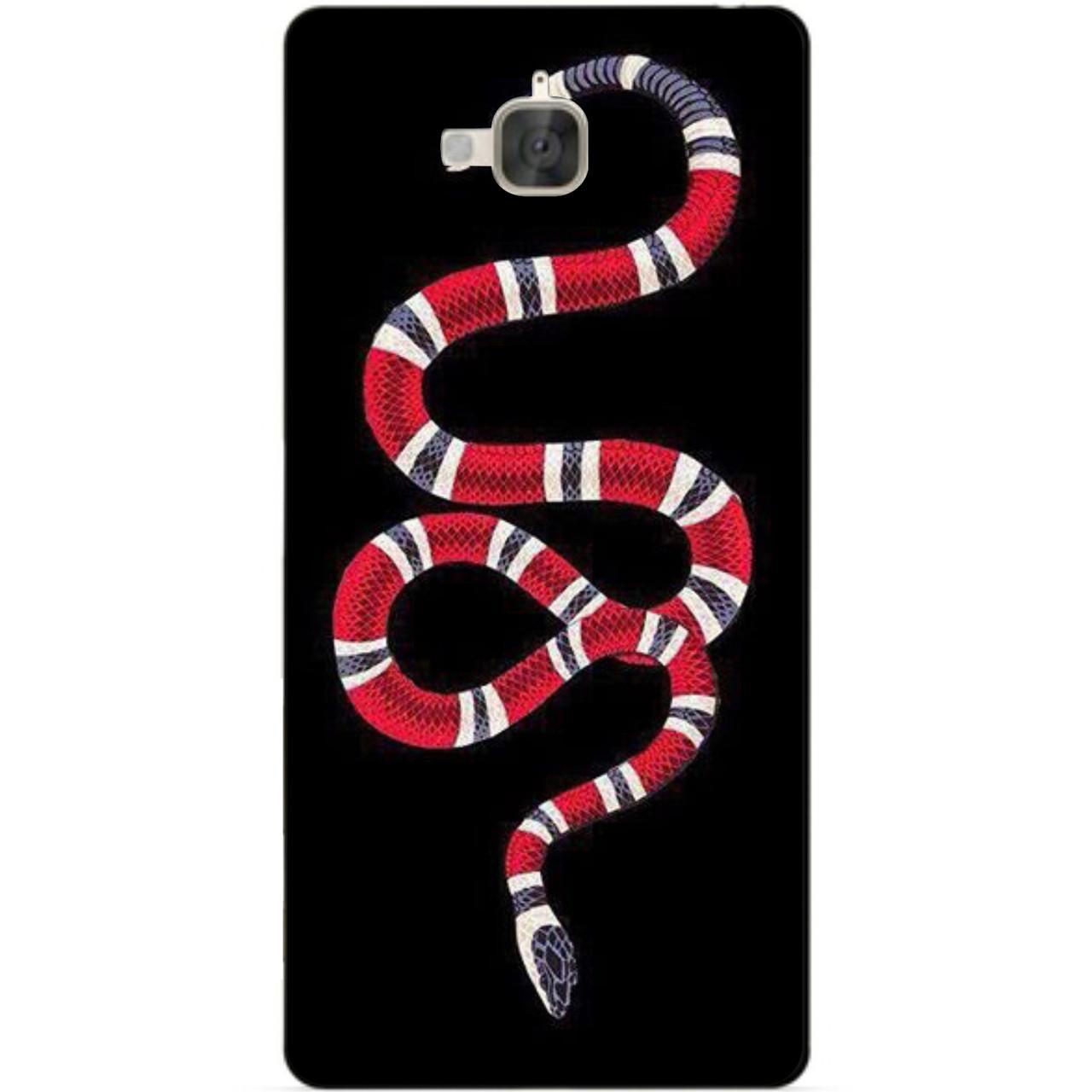 Силиконовый бампер чехол для Huawei Y6 Pro с рисунком Змея Gucci