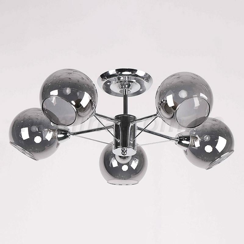 Люстра потолочная на пять серых плафонов молекул 29-C810/5 CR+BK+BR