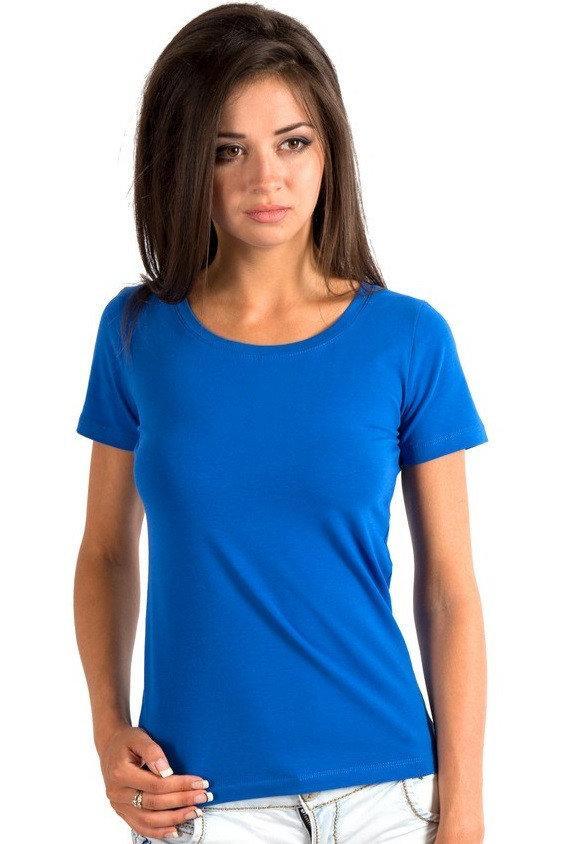 Однотонная футболка женская хлопковая трикотажная без рисунка летняя, синяя