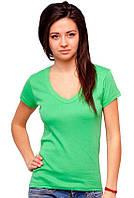 Женская футболка зеленаяс коротким рукавом без рисунка хлопковаятрикотажная х/б