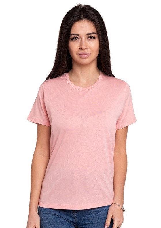 Однотонная футболка без рисунка женская трикотажная гладкая, цвет пудра