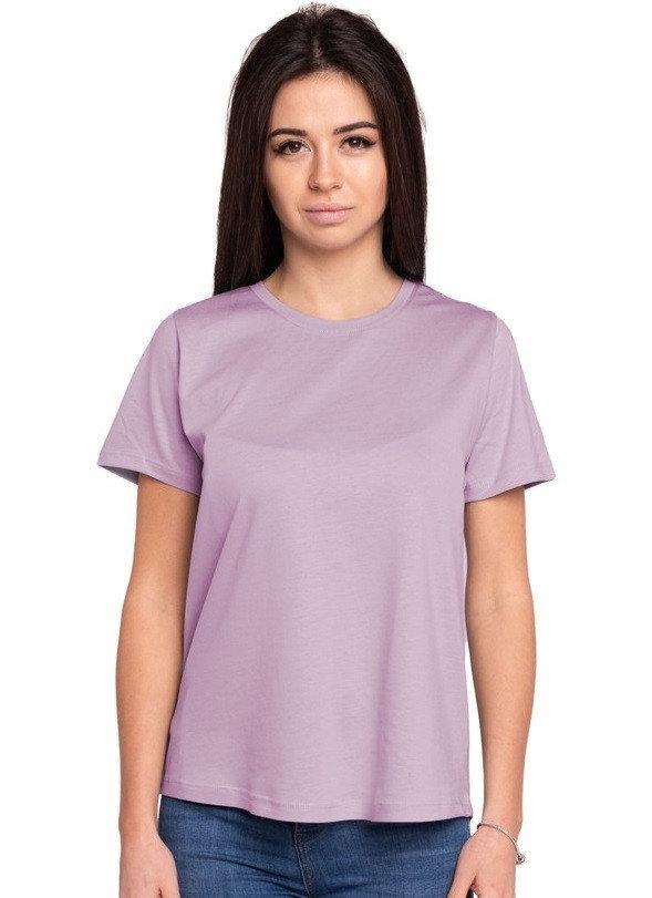 Однотонная футболка без рисунка женская трикотажная гладкая, перепелиный