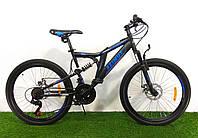 Подростковый двухподвесный велосипед Azimut Blackmount 24 GD Черно-синий