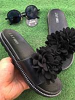 Шлепанцы - Чёрные с чёрным цветком