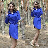 Женское платье рубашка с манжетами