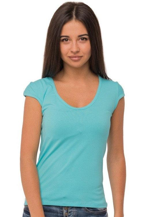 Бирюзовая футболка женская без рисунка однотонная стрейчевая летняя