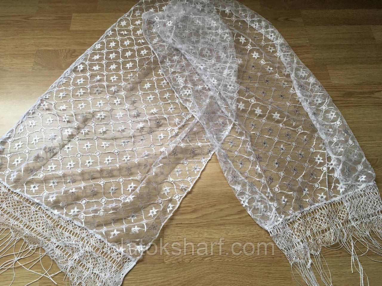 Шарфы, женские шарфы Белые с блестком в ассортименте