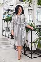 Стильне жіноче плаття сорочка в смужку з поясом №41289 (р. 42-48), фото 1