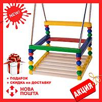 Детская качеля 0158 F дерево+пластик | качелька для ребенка | деревянная подвесная качеля