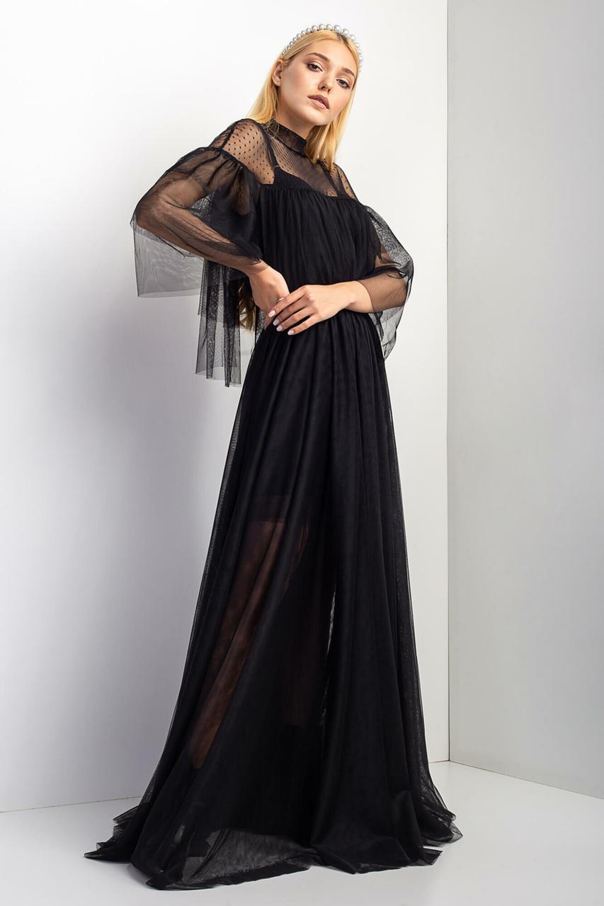 Вечерний костюм OSCAR из черного фатина: клешная юбка в пол, удлиненная блуза с воланами на рукавах