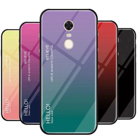 TPU+Glass чехол Gradient HELLO для Xiaomi Redmi 5 Plus / Redmi Note 5 (SC) Фиолетовый