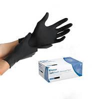 Чорні рукавички нітрилові SafeTouch® Advanced Black без пудри (50пар) щільні (S)
