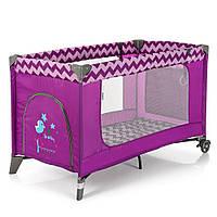Манеж ME 1016 SAFE Purple Zigzag   детский,2колеса,вход-змейка,карман,кольцо2шт, пурпурный