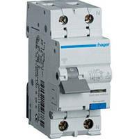 Дифференциальный автомат Hager AD975J 1+N, 25A, 30 mA, С, 6 КА, A, 2м