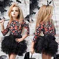 Черный комплект юбка+блуза с привидениями/тыквами/ведьмами на Halloween/Хеллоуин zironka