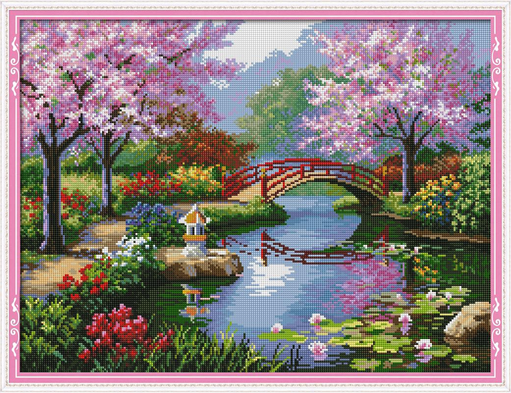 Набор Алмазная вышивка Весенний пейзаж F0001