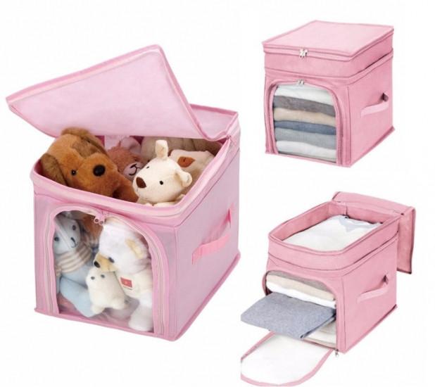 Органайзер для игрушек, одежды бамбук розовый
