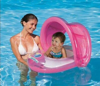 """Плотик надувной """"Лодочка"""" BestWay 34091(Pink) с защитой от солнца, 80 * 85 см, розовый"""