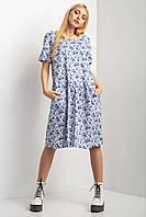 Хлопковое платье SUMMER в цветочный принт с заниженной талией и открытой спиной