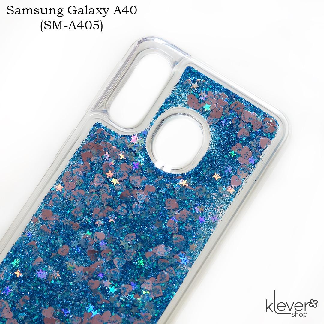 Чехол аквариум для Samsung Galaxy A40 (SM-A405) (сердечки и синие блестки)