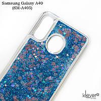 Чехол аквариум для Samsung Galaxy A40 (SM-A405) (сердечки и синие блестки), фото 1