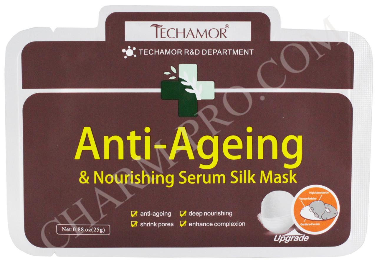 Шелковая антивозрастная маска для лица с пептидами Techamor