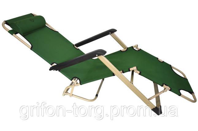 Шезлонг лежак Bonro 180 см темно-зеленый, фото 2