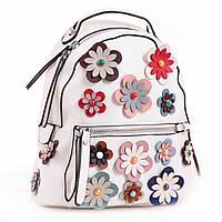 313325eddedd Рюкзак женский YES Weekend из PU кожи с декоративными цветами 23*21*10 см  белый (554418)