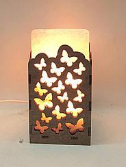 Соляная лампа Прямоугольник в дереве Бабочки