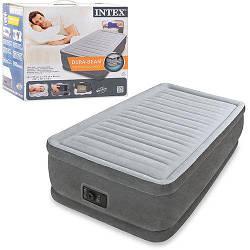 Одноместная надувная матрас-кровать КОМФОРТ ТВИН INTEX 99x191x46 см с электронасосом (велюр) ИНТЕКС серый