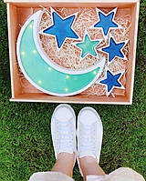 """Декоративный светильник, ночник детский """"Луна, звезды"""" с лэд лампочками, декор для дома, лампа, фото 1"""