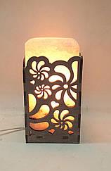 Соляная лампа Прямоугольник в дереве Вьюнок
