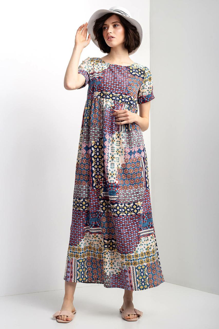 Трикотажное платье AJSI N длиной макси с коротким рукавом и абстракцией