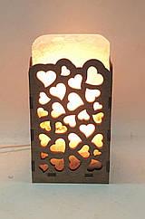 Соляная лампа Прямоугольник в дереве Сердца